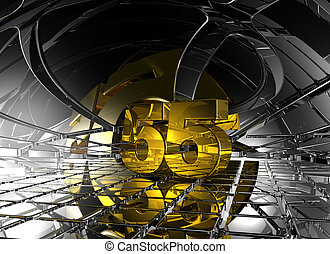 number fifty five in abstract futuristic space - 3d ...