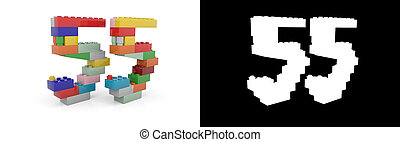 Number fifty-five (number 55) from building bricks - ...