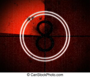 number - Filmstrip on red background
