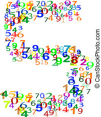 Number Five 5 made from colorful numbers