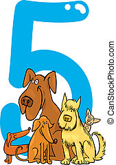 number five and 5 dogs