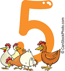 number five and 5 hens - cartoon illustration with number...