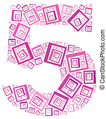 Number Five info-text/cloud word/word collage Composed with ...