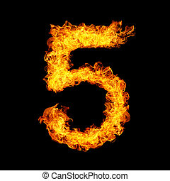 Number Five made from fire flame