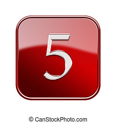 Number five red glossy, isolated on white background