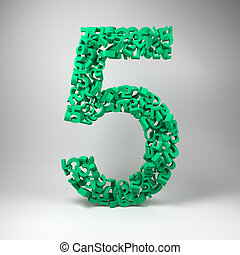The number five made out of smaller number fives in a studio setting