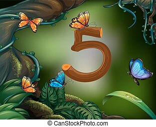 Number five with 5 butterflies in the garden