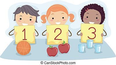 Number Flash Cards - Illustration of Kids Holding Flash...