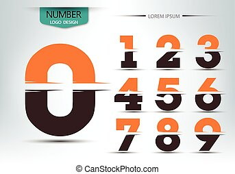 Number font template set of numbers logo or icon