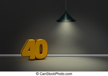 number forty under a lamp - 3d rendering
