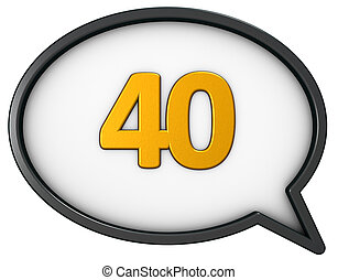 number forty in speech bubble - 3d rendering