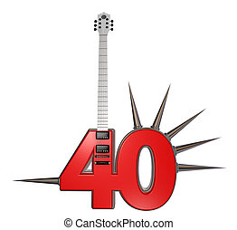 number forty guitar with prickles on white background - 3d...