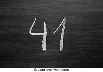 number forty one enumeration written with a chalk on the blackboard