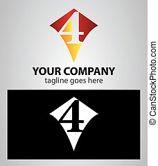 number four 4 logo icon design