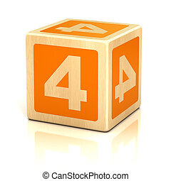 number four 4 wooden blocks font