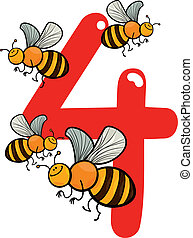 number four and 4 bees - cartoon illustration with number ...