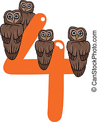 number four and 4 owls - cartoon illustration with number...