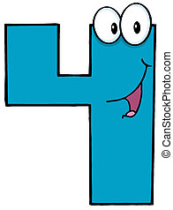 Number Four Cartoon Mascot Character