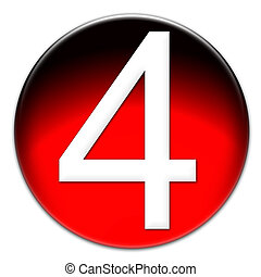 Number 4 Arial font type on a red glassy button isolated on white background