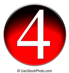 Number 4 Times New Roman font type on a red glassy button isolated on white background