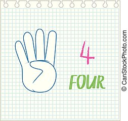 Number four hand gesture illustration