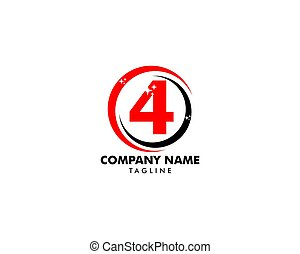Number four logo, Logo 4 vector template