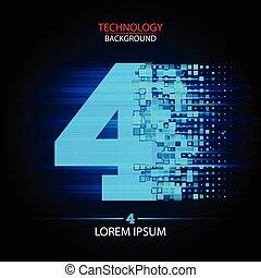 Number four logo vector technology design