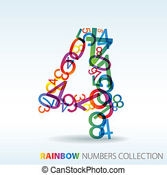 Number four made from colorful numbers