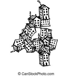Number four made from houses, vector alphabet design
