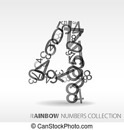Number four made from various numbers