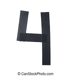 Number four symbol made of insulating tape