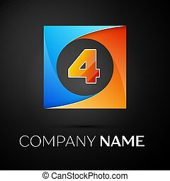 Number four vector logo symbol in the colorful square on black background. Vector template for your design