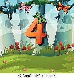Number four with 4 butterflies in garden