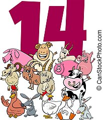 number fourteen for kids with cartoon farm animals group