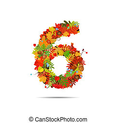 Number from autumn colorful leaves 6