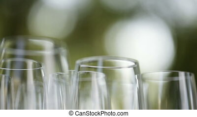 Number glass stemware - Clean glass glasses each other