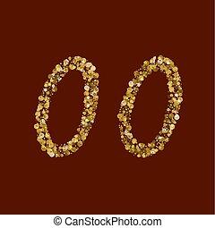 number., gouden, 00, schitteren