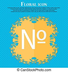 number icon. Set Flat modern. Floral flat design on a blue abstract background with place for your text. Vector