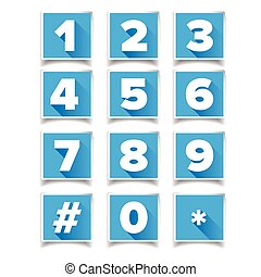Number icon set square blue