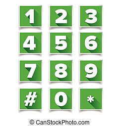 Number icon set square green