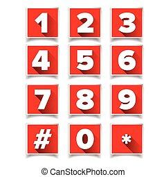 Number icon set square red