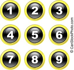 number icons - set of number icons on black glossy glass...