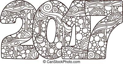 number., illustration, vecteur, année, nouveau, 2017, célébration, noël, zentangle., heureux
