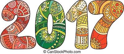 number., ilustração, vetorial, ano, novo, 2017, celebração, ...