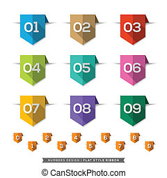 Number in Bookmark Label long shadow Flat Icons Set - Label ...