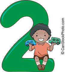 Number Kid 2 - Illustration of a Kid Playing with Toys