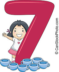 Number Kid 7 - Illustration of a Kid Surrounded by Cups