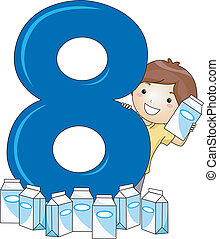 Number Kid 8 - Illustration of a Kid Surrounded by Milk...