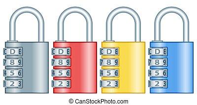 Number lock set - Illustration of the combination code lock...