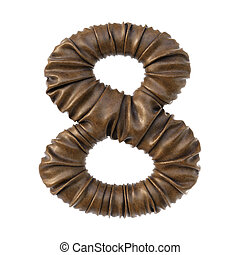 Number made from brown leather.